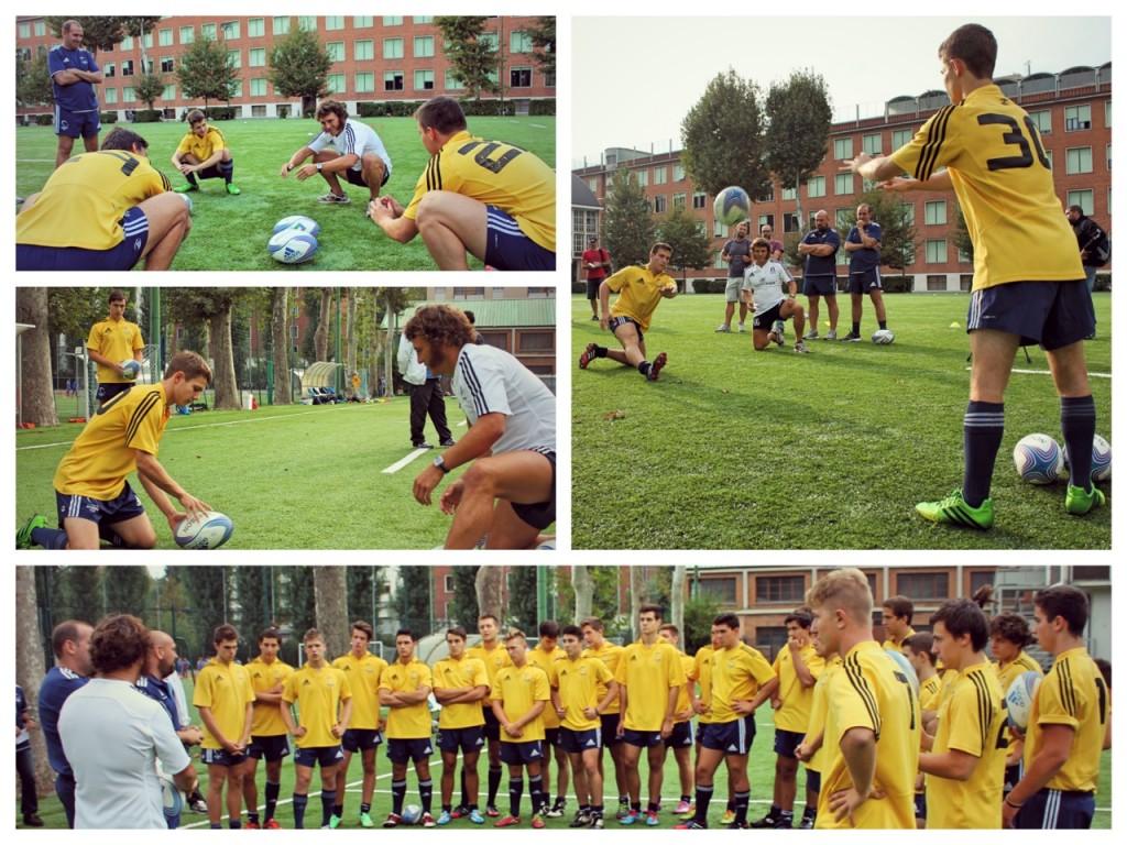 Paul Griffen con i giovani atleti del rugby