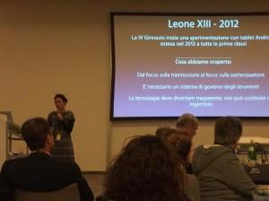 La prof.ssa Argenti presenta la sperimentazione tecnologica del Leone