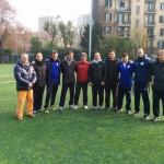 Foto di gruppo con gli allenatori (Beretta al centro con la maglia rossa)