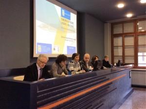 Da sin: i proff. Giampaolo Pignatari, Marco Balzano, Gabriella Tona, Antonio Bertolotti, Giuliana Nuvoli e il dott. Franco Berton Giachetti