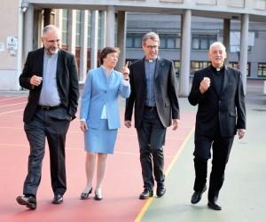 Da destra: padre Sosa, padre Mattei, la prof.ssa Tona, padre Denora