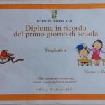 Il diploma del primo giorno di scuola